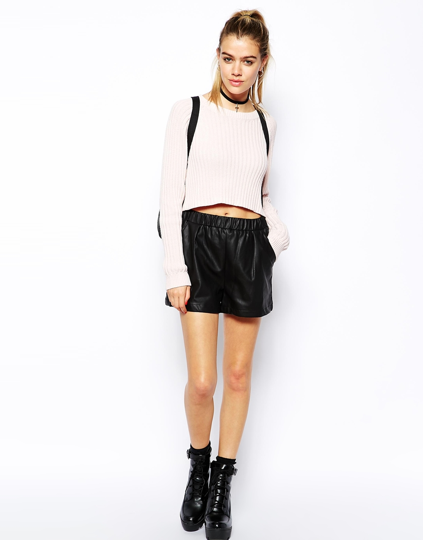 Glamorous PU Shorts with Pockets at asos.com