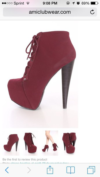 shoes lace-up ankle booties maroon/burgundy