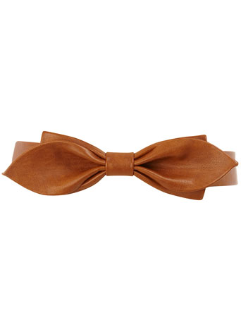 Tan overlay bow waist belt