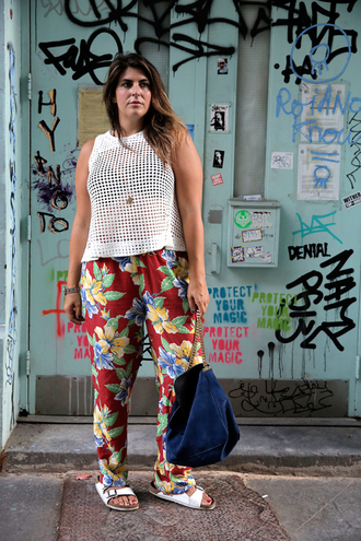 man repeller blogger printed pants floral pants