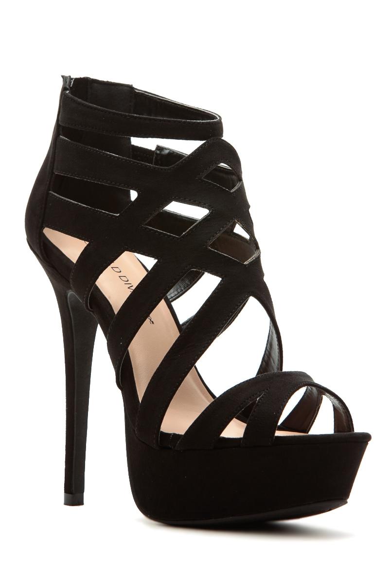 57185a4a7817 Black Faux Suede Cross Strap Platform Heels   Cicihot Heel Shoes online  store sales Stiletto Heel Shoes ...
