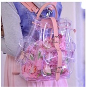 bag,girly,pink,clear,backpack,tumblr,cute,see through