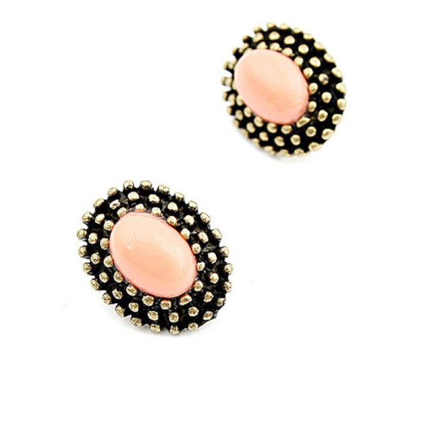 jewels pink gold pastel oval earings