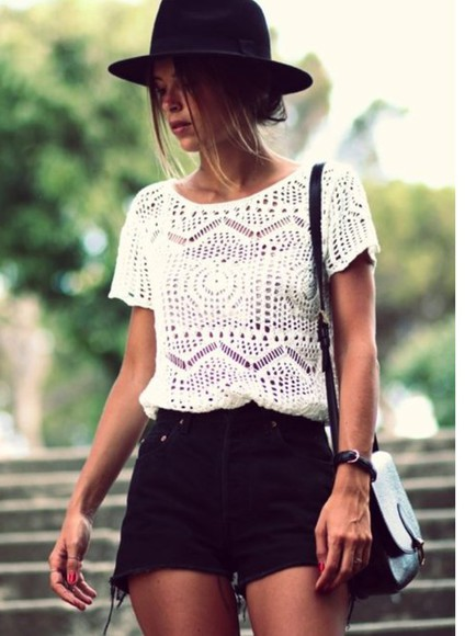 blouse hippie crochet top boho shirt hipster off-white