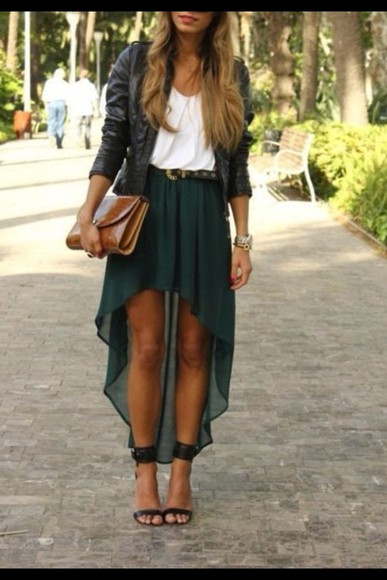 shirt long skirt jacket belt long skirt with bow long high low skirt dark green leather jacket white crop top swag swag girl summer black leather jacket