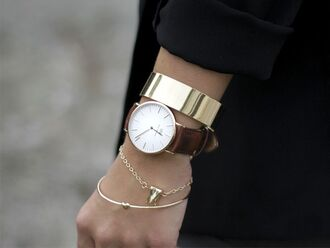 jewels round watch brown watch leather watch gold shiny bangle gold chrome bangle chrome bangle tiny heart bangle asos tooth bracelet asos tooth bracelet