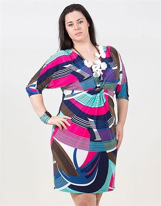 curvy curvy dress multi colored plus size dress waves summer outfits summer dress pink dress blue dress multicolour dress clubwear party dress