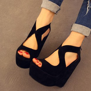 2013 summer fashion high heeled shoes platform open toe platform wedges sandals female shoes