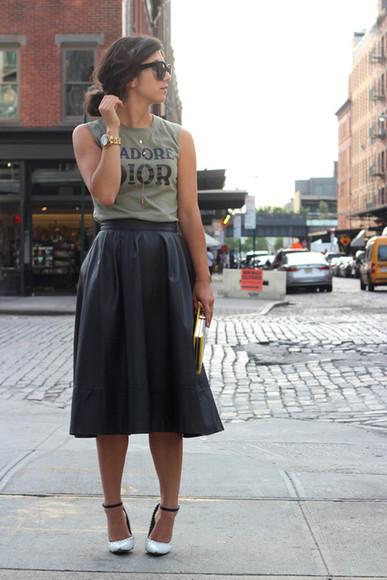 skirt black skirt leather skirt pleated skirt leathe midi skirt
