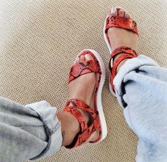 shoes sandals flat sandals crocodile