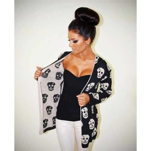 sweater cardigan black white skulls