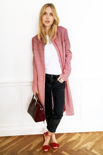 le fashion image blogger bag red coat red jacket white top black jeans lace up heels red heels burgundy