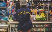 jacket,first class,navy,blue coat,blue and yellow,shop,coat,tumblr,pale,grunge,party,nike,adidas,black,yellow,first class bitch,windbreaker,blue,bomber jacket