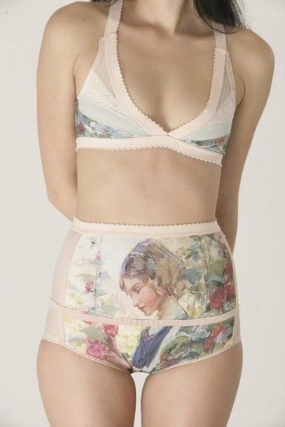 Underwear: vintage, high waisted, bra, panties, swimwear, pretty ...