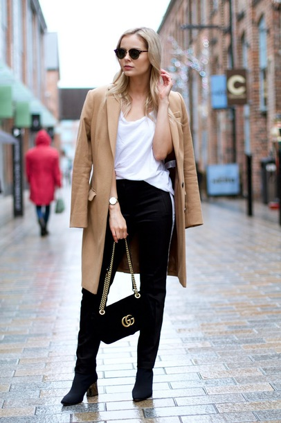 coat tumblr camel camel coat top white top pants black pants boots black boots sunglasses bag black bag gucci bag