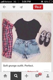 shirt,shorts,cute,blouse,blue,checked shirt,denim,top,High waisted shorts,shoes,sunglasses,black,teenagers,jacket,tumblr,cardigan,denim shorts,flannel shirt,black crop top,vans