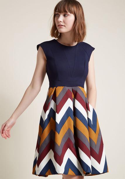 Meline Navy skirt pleated skirt pleated flare style feminine fit navy knit blue