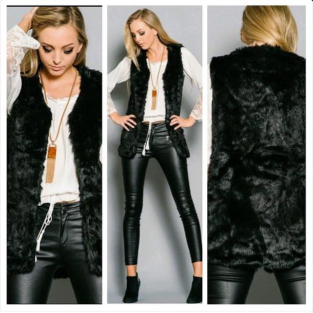 jacket vest faux fur vest
