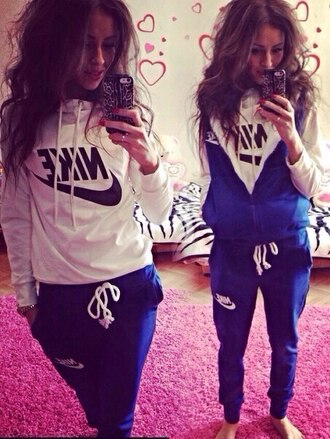 jacket nike 3 piece suit tracksuit tracksuit bottoms pants sweater hoodie pullover sweatpants style beauty fashion shopping best beautiful sportswear top winter outfits winter sweater hood blue