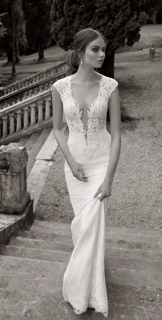 dress wedding dress white cut-out lace embellished dress wedding gown white dress