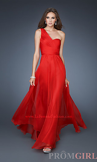 Prom Dresses, Celebrity Dresses, Sexy Evening Gowns - PromGirl: Long Chiffon One Shoulder Gown