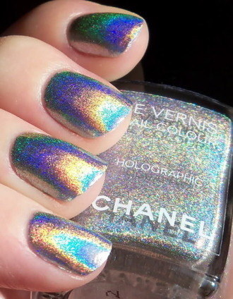 nail polish chanel nail holigraphic chanel nail polish nails glitter holographic silver chanel   hologram chanel hologram rainbow pastel grunge kawaii pretty cute party make up chane holographic nail polish