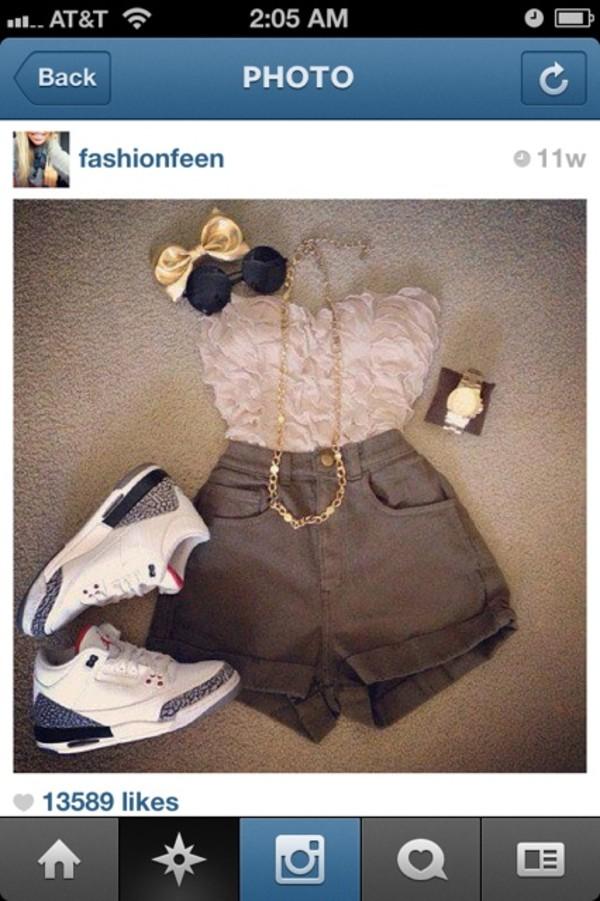 tank top instagram crop tops shorts shoes