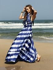 dress,nautical,tie dye,summer,stripes,maxi dress,Elle Sweden,blue dress,summer dress,blue,white,long,beach,sandals,brunette,weheartit,waves,cute,girly