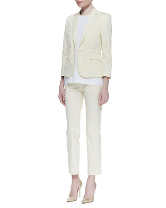 Theory Icon Fine Twill Button Blazer, Sleeveless Round-Neck Blouse & Cropped Slim Twill Pants