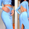 Long sleeve open back two piece bandage set light blue