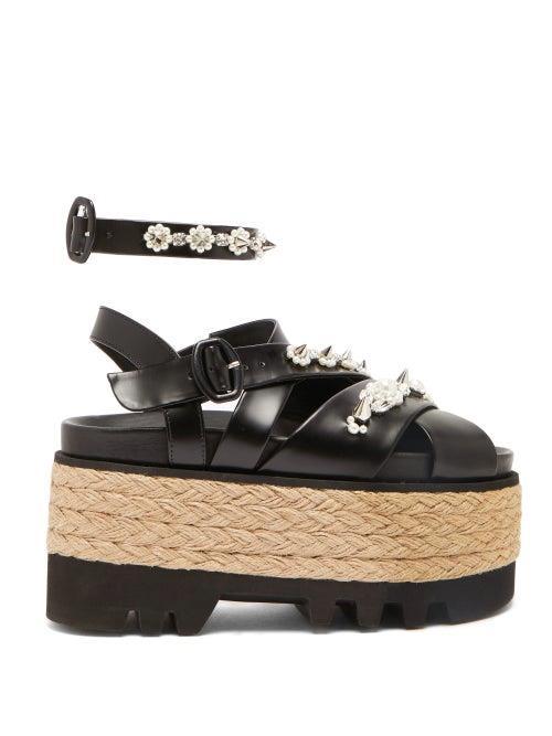 Simone Rocha - Embellished Leather Espadrille Flatform Sandals - Womens - Black