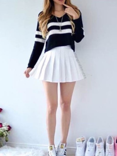 Sweater And Skirt Outfit Tumblr - Cardigan With Buttons