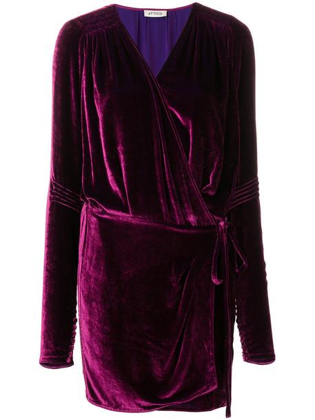 Attico dress long women silk purple pink