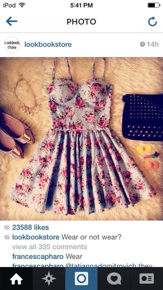 light blue pink flowers floral dress dress ariana grande