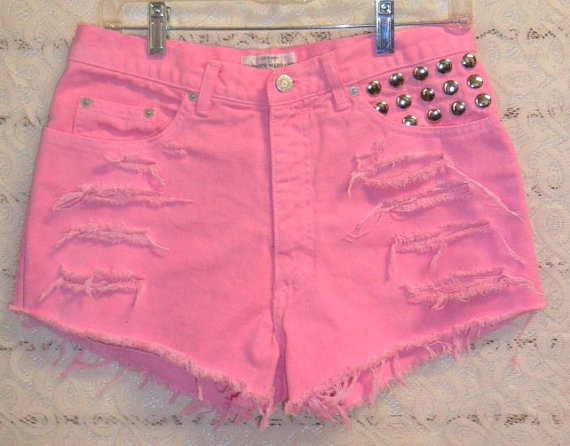 Hand Dyed Pink GUESS Studded denim shorts  by GypsysTreasureCove