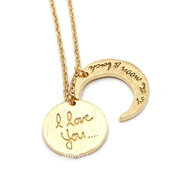 jewels,jewelry,love necklace,moon necklace,crest necklace,iloveyou necklace,bestfriends necklace,bestfriend necklace,i love you