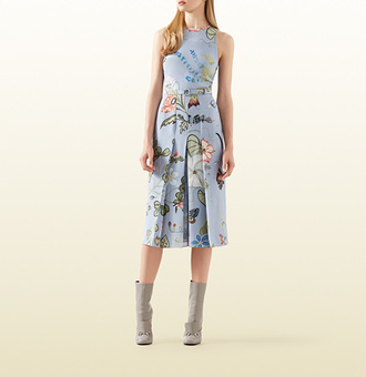 dress gucci cady vintage 60s style midi pleated floral
