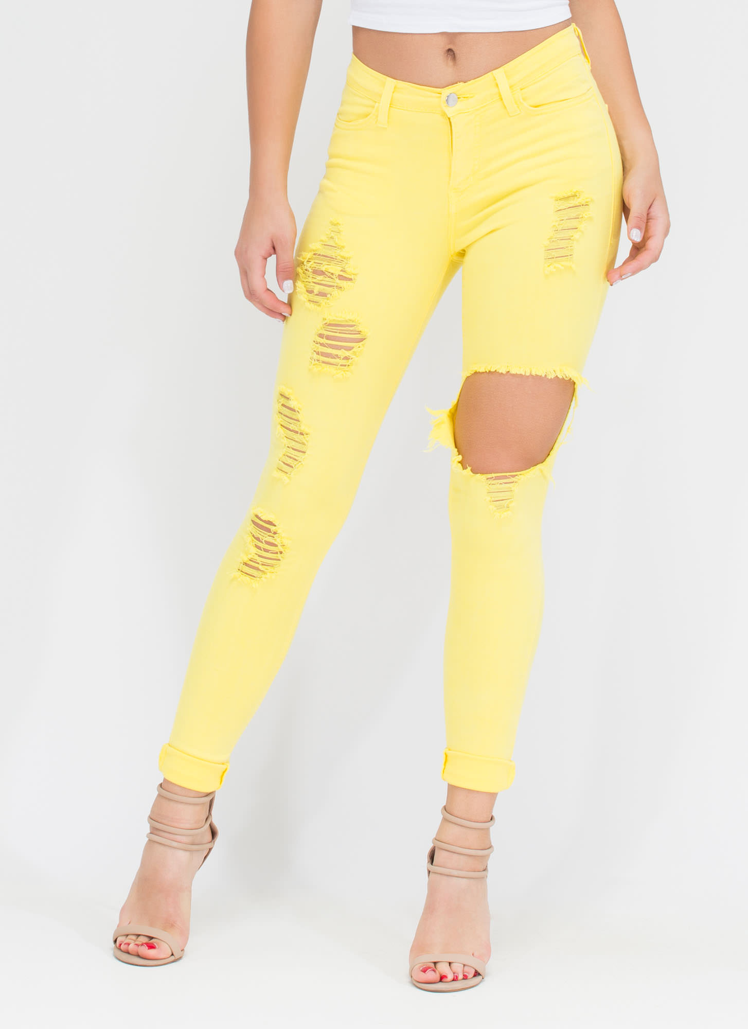 To Shreds Distressed Skinny Jeans LILAC BABYBLUE MINT YELLOW PINK ...