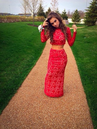 dress red lace two piece dress set two-piece set maxi crop tops maxi skirt red dress long red dress red lace dress