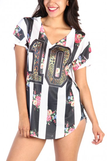 LoveMelrose.com From Harry & Molly | Floral Football Shirt - Black/White