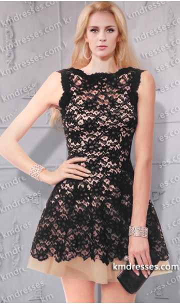 Chic Sleeveless Boat neck V-back Short Tulle Lace dress