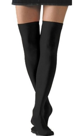 Amazon.com  Black Solid Opaque Thigh High Stockings by Foot ... 5cc15823a