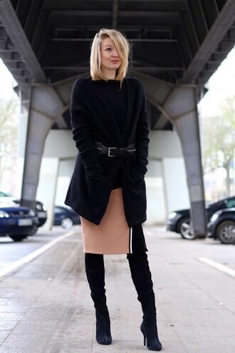ohh couture blogger skirt cardigan short hair waist belt slit skirt black boots winter outfits sweater belt