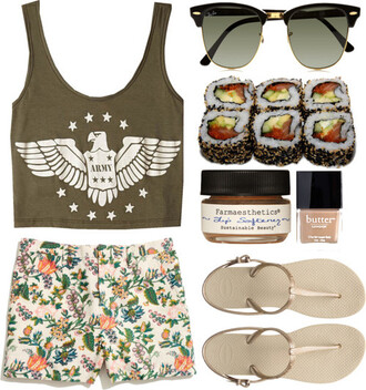 t-shirt clothes fashion ray ban sunglasses beautiful eagle hipster trendy outfit girl summer top tank top crop sunglasses shorts