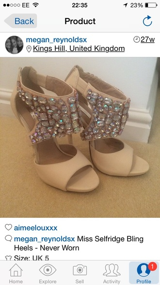 shoes nude shoes sparkle miss selfidge jewels swarovski high heels open toes