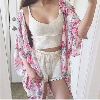cardigan floral cute outfit shoes shorts kimono fashion tank top top white crop tops pink