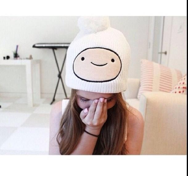 fd8a417aed2 hat beanie white smiley white hat adventure time finn finn the human adventure  time beanie hair
