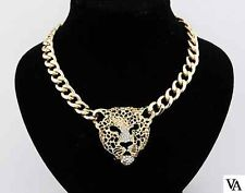 Vintage gold lion lioness jaguar head chunky chain necklace | eBay