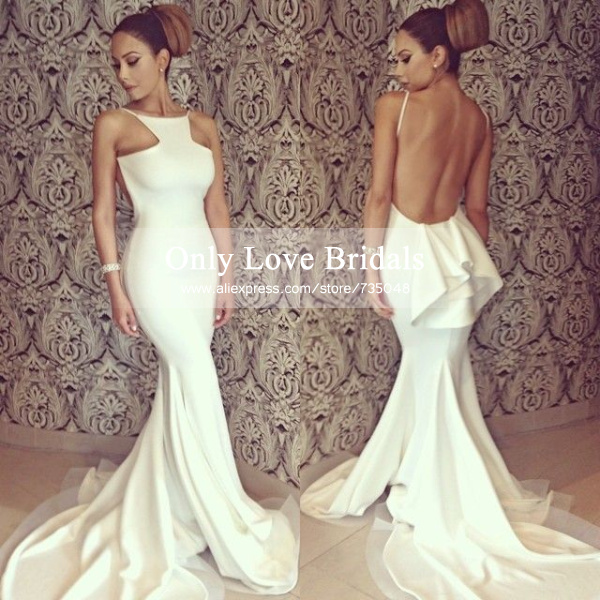 Aliexpress.com : buy vestido de festa hot simple design mermaid party dress spaghetti straps open back sweep train peplum satin prom/evening dresses from reliable dress hell suppliers on only love bridals