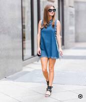 dress,tumblr,frayed denim,sleeveless,sleeveless dress,denim,denim dress,sandals,mid heel sandals,scarf